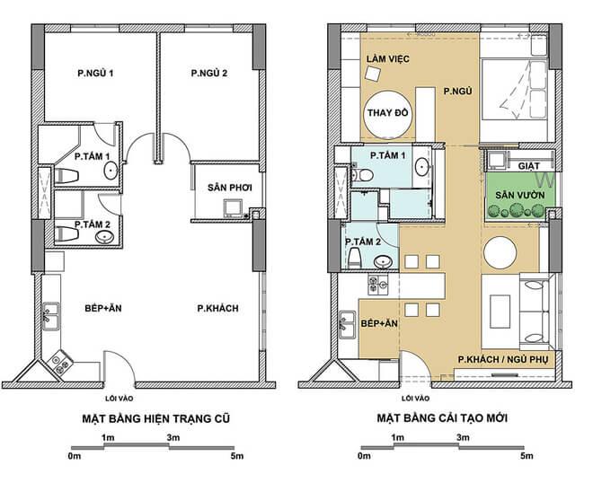 Bản thiết kế căn hộ 75 m2 trước và sau khi sửa chữa