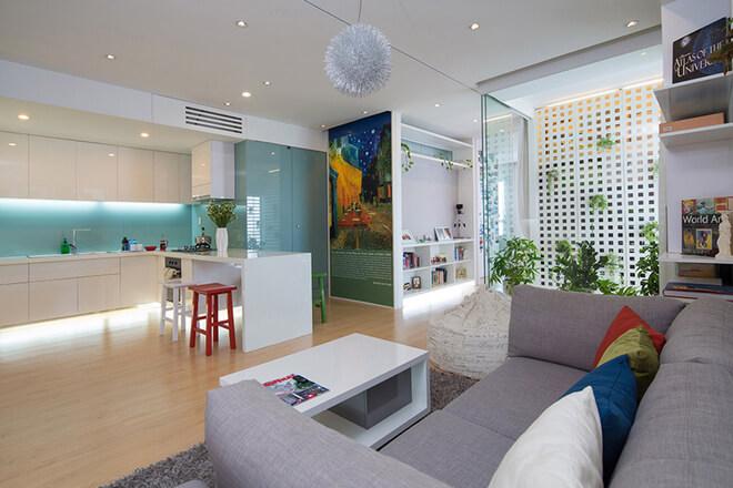 Không gian phòng khách liên hoàn với phòng bếp tiện dụng