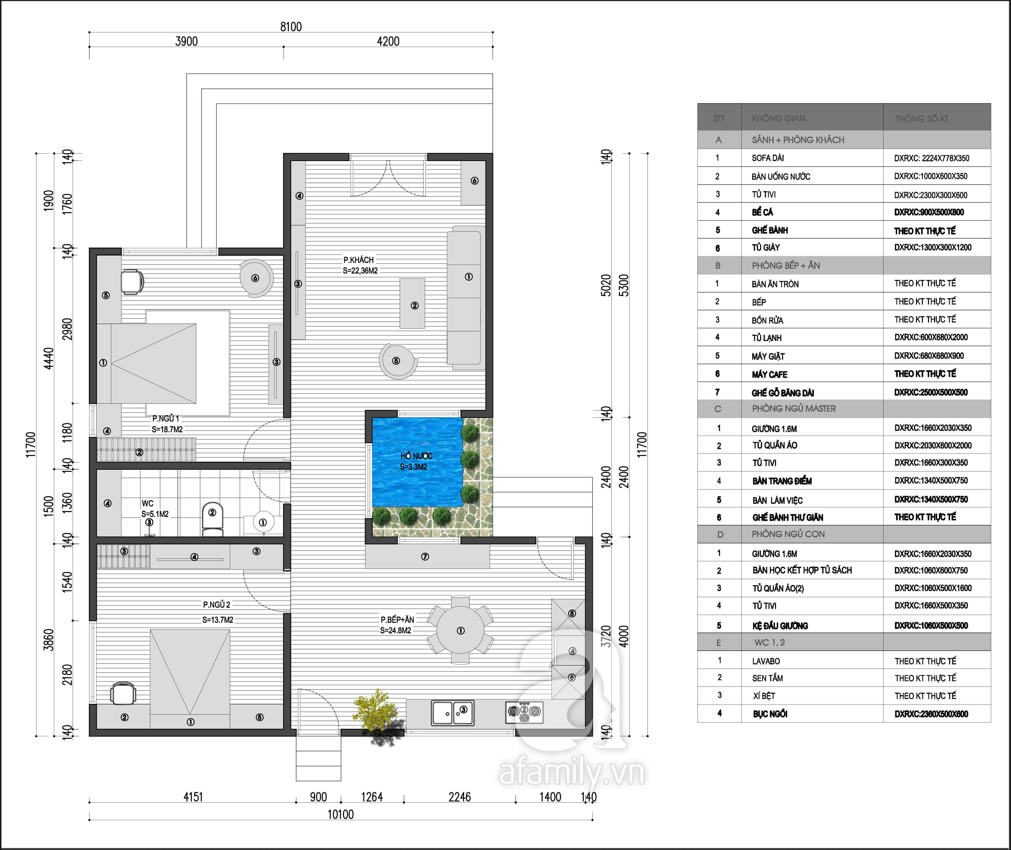 Mặt bằng tư vấn thiết kế nội thất nhà cấp 4 cho chủ nhà mệnh Kim.
