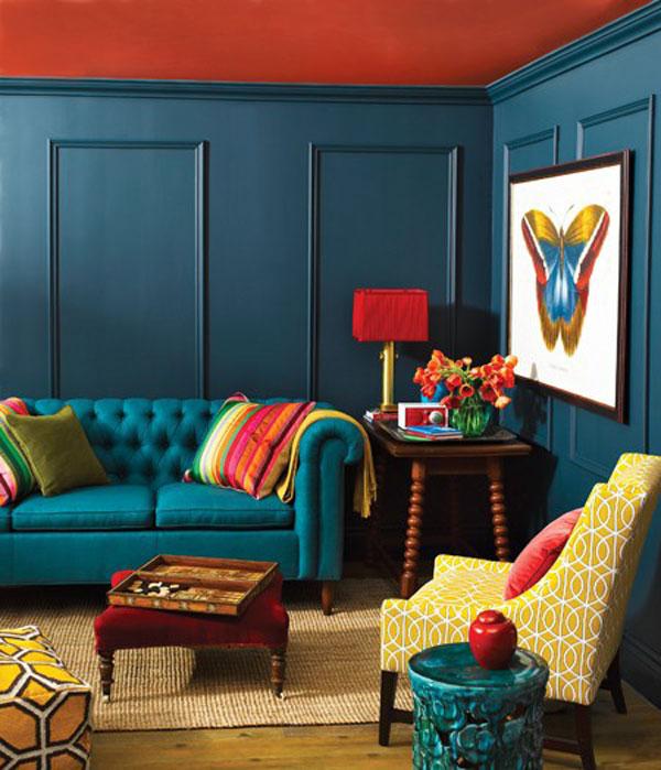 Những màu sơn nhà đẹp với màu cam xanh ngọc tạo điểm nhấn cho căn phòng