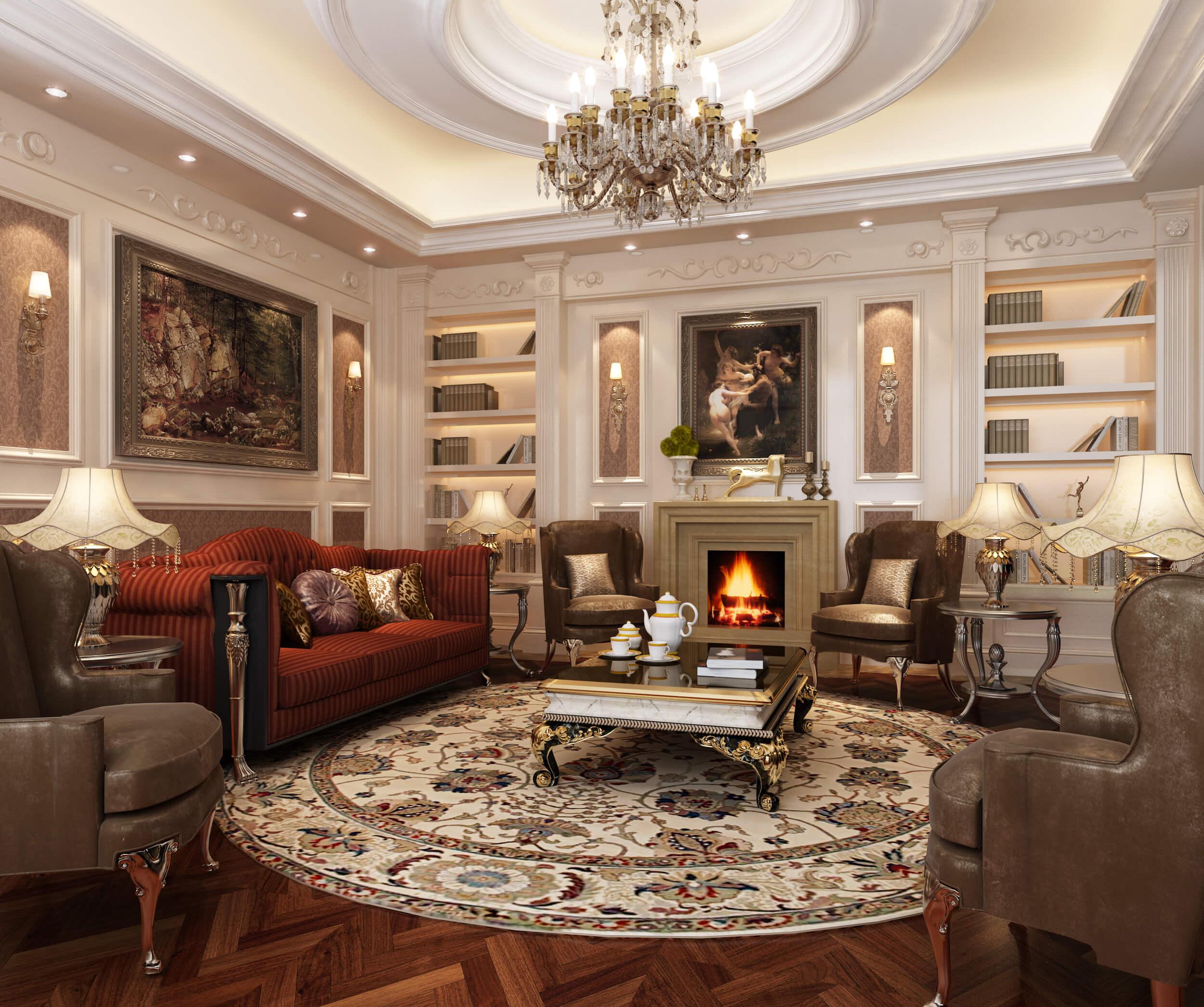 Những màu sơn nhà đẹp với phòng khách trang nhã phong cách cổ điển sang trọng