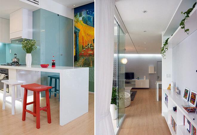 Phòng khách có thể thành phòng ngủ nhờ hệ thống màn kéo linh hoạt