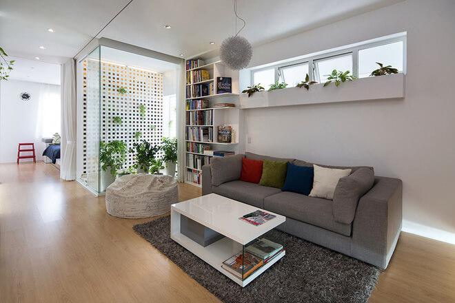 Sửa chữa phòng khách trong căn hộ 75 m2 của cặp vợ chồng mới cưới