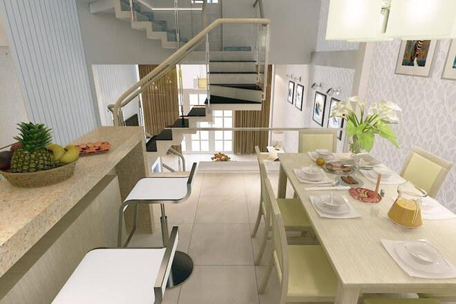 Tầng lửng được sử dụng làm bếp ăn và bàn ăn