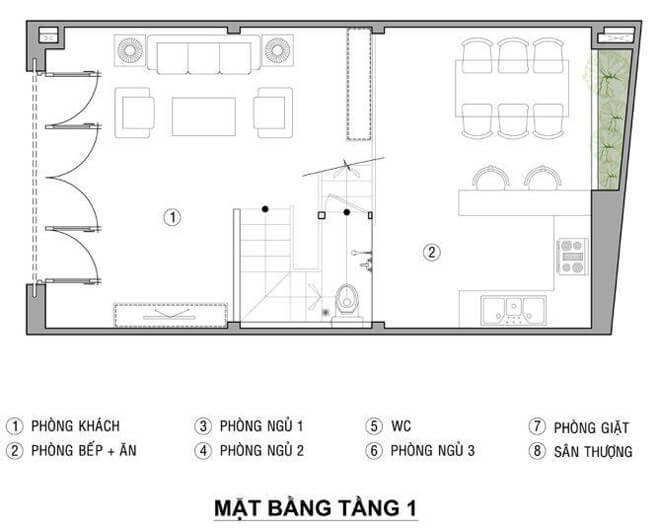 Thiết kế nhà 21 m2 có ba phòng ngủ sáng thoáng với bản thiết kế mặt bằng tầng 1