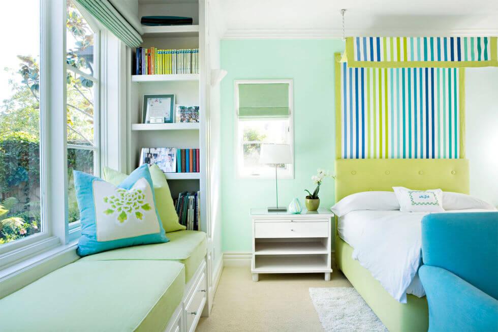 Tone mầu xanh làm ngôi nhà thêm thoáng đãng, thân thiện thiên nhiền