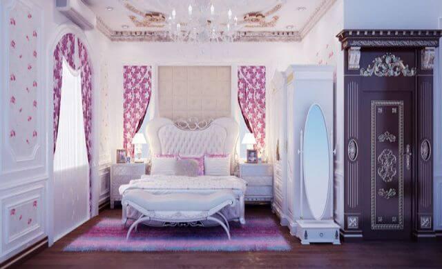 Thiết kế phòng ngủ với gam mầu trắng hồng phong cách châu âu