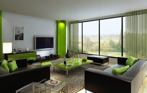 phòng khách đẹp với màu xanh