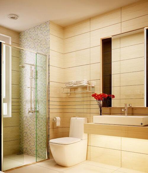 Trong nhà Lam Trường, phòng WC và phòng tắm lấy tông màu sáng làm chủ đạo.