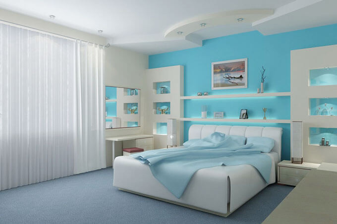 sơn phòng ngủ đẹp với mầu xanh da trời gần gũi thiên nhiên