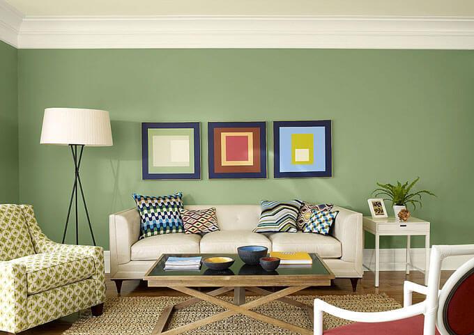 Mẫu sơn phòng khách đẹp phù hợp người mệnh thổ màu vàng của đất