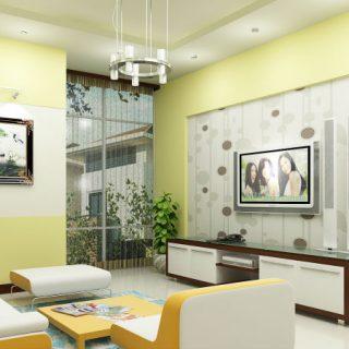 sơn phòng khách với tông vàng trắng đẹp và sang trọng