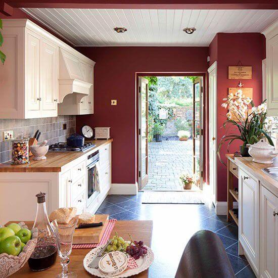 4 màu sơn nhà đẹp cho phòng bếp màu rượu vang