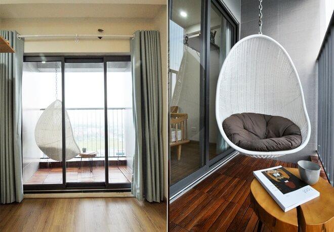 Cải tạo tận dung diện tích ban công chung cư 58 M2 thành nơi đọc sách, hút thuốc, ngắm cảnh ngoài trời