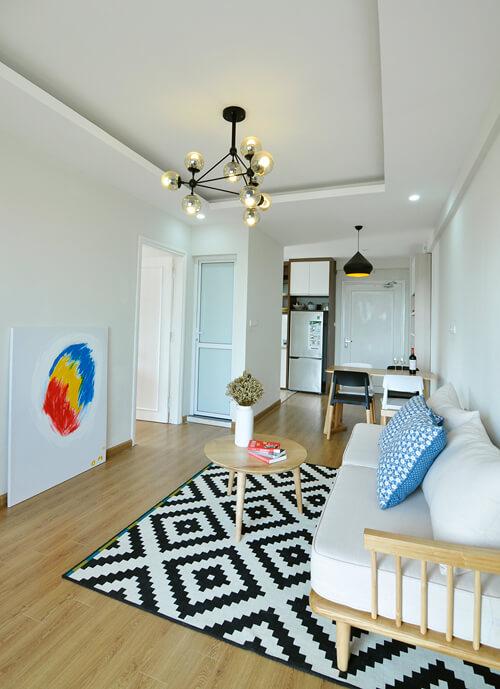 Cải tạo tối ưu diện tích sử dụng phòng khách nhà chung cư 58 M2