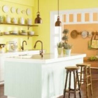 màu sơn nhà bếp đẹp với sắc vàng