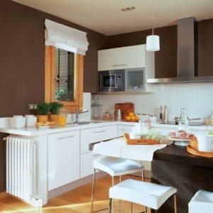 màu sơn nhà bếp đẹp với sơn nâu trắng