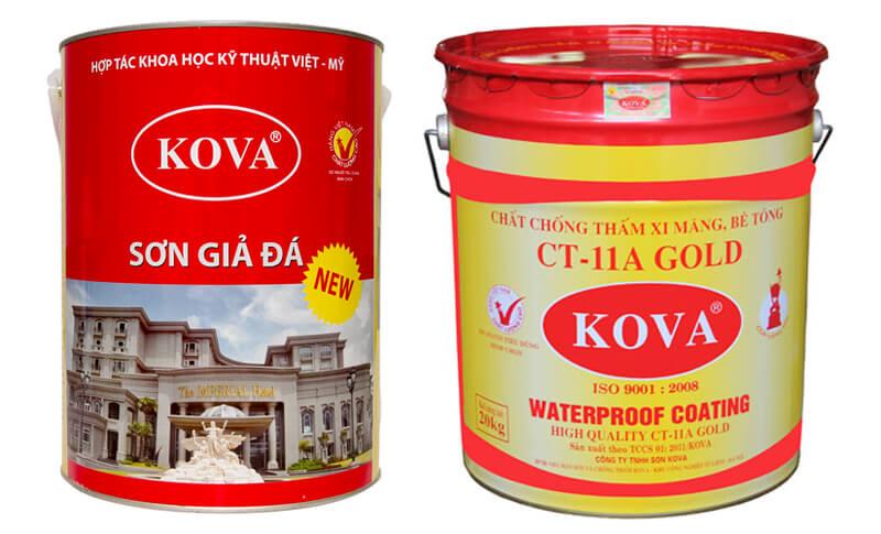 Hình ảnh sơn giả đá và sơn chống thấm hiệu Kova tại Việt Nam hiện nay